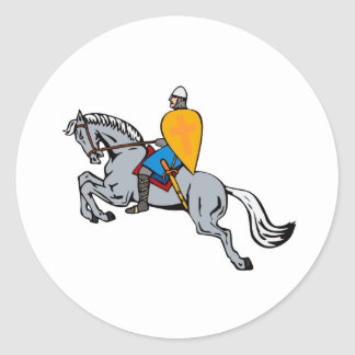 knights templar riding horse sword and shield stickers
