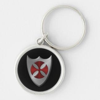Knights Templar Symbol Silver-Colored Round Keychain