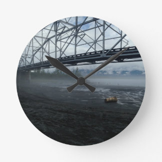 Knik River Bridge Round Clock