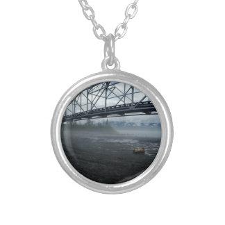 Knik River Bridge Silver Plated Necklace