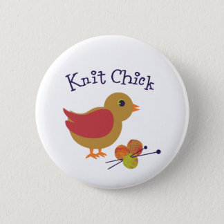 Knit Chick 2 Inch Round Button