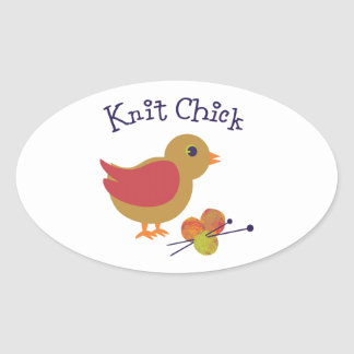 Knit Chick Oval Sticker