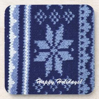 Knit classic pattern blue star beverage coaster