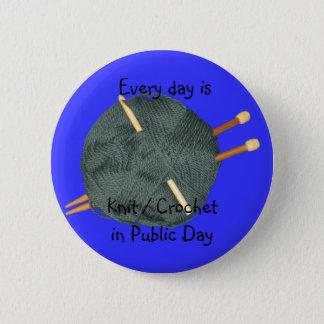 Knit Crochet in Public 2 Inch Round Button