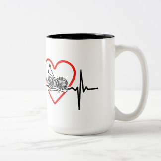 knit heartbeat design Two-Tone coffee mug