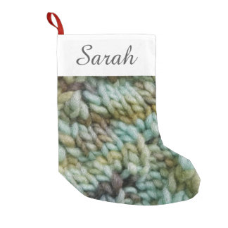 Knit Malabrigo Yarn Texture w/ Your Text Small Christmas Stocking