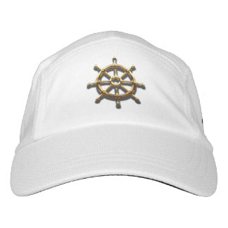 Knit performance hat white faux gold helm wheel