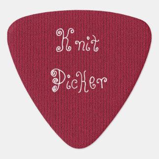 """Knit Picker"" text on Red Stockinette Stitch Guitar Pick"