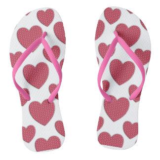 Knit Red Heart Design Flip Flops
