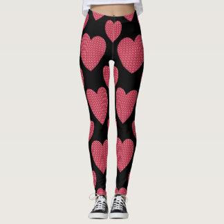 Knit Red Heart Design Leggings