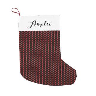 Knit Stockinette Stitch Crafts Print + Name Small Christmas Stocking
