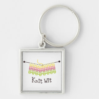 Knit Wit Silver-Colored Square Keychain