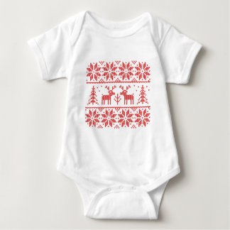 Knit with deer baby bodysuit