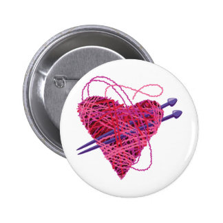 kniting pink heart 2 inch round button