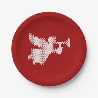 Knitted Angel Ugly Christmas Sweater Knitting Red Paper Plate