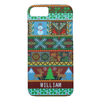 Knitted Christmas Sweater Snowman Reindeer | Name iPhone 7 Case
