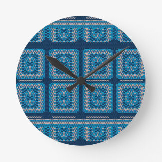Knitted Decorative Background2 Round Clock