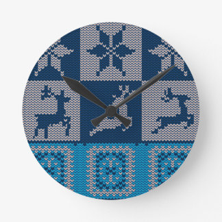 Knitted Decorative Background Round Clock