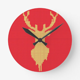 Knitted Deer Round Clock