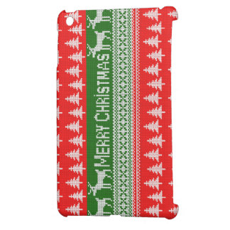 """Knitted """"Merry Christmas"""" pattern iPad Mini Cases"""
