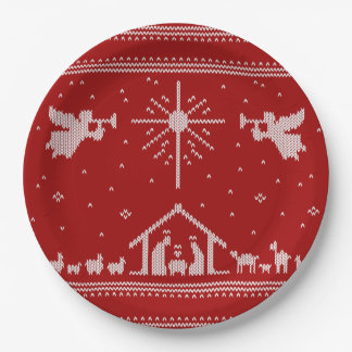 Knitted Nativity Ugly Christmas Sweater Religious Paper Plate