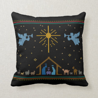 Knitted Nativity Ugly Christmas Sweater Religious Throw Pillow