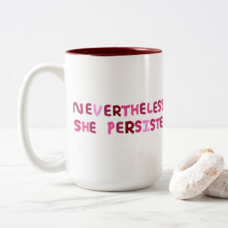 Knitted Nevertheless, She Persisted. Two-Tone Coffee Mug