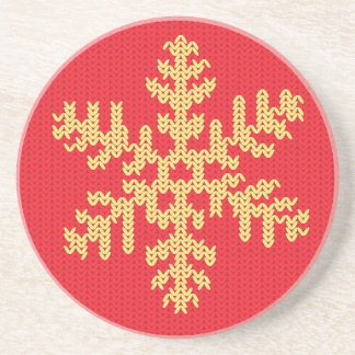 Knitted Snowflake Pattern Beverage Coasters