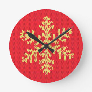 Knitted Snowflake Pattern Round Clock