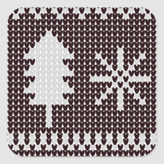 Knitted Tree Square Sticker
