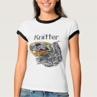 Knitter - Hand Knit Black and White Chenille Yarn T-Shirt