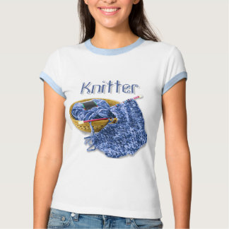 Knitter - Hand Knit Blue Chenille Yarn T-shirts
