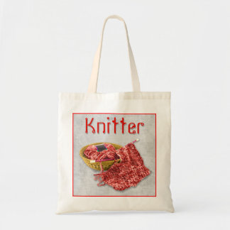 Knitter - Hand Knit red Chenille Yarn Tote Bag