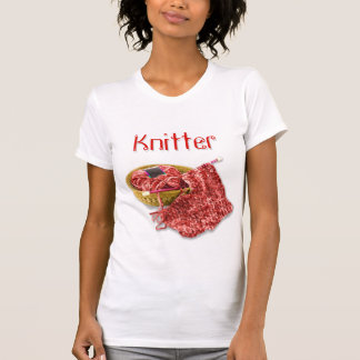 Knitter - Hand Knit Red Chenille Yarn Tshirts