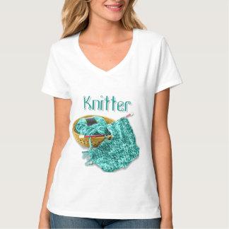 Knitter - Hand Knit Teal Chenille Yarn Shirt