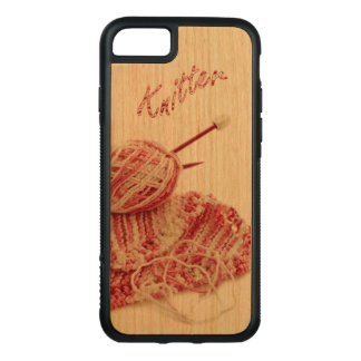"""Knitter"" Pink and White Hand Knit Still Life Carved iPhone 8/7 Case"