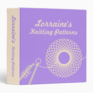 Knitters Knitting patterns purple & cream folder Binder