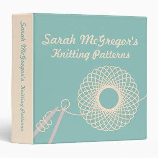 Knitters Knitting yarn pattern teal & cream folder Binder