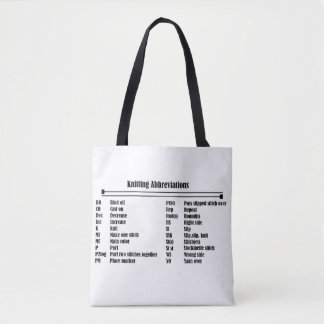 Knitting Abbreviations Prime Tote Bag