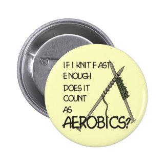 Knitting Aerobics 2 Inch Round Button