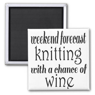 Knitting and Wine Magnet