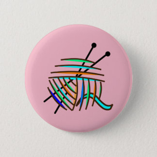 Knitting badge 2 inch round button