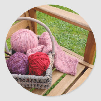 Knitting basket round sticker