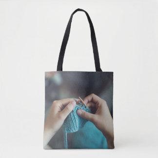 Knitting Blue Yarn Tote Bag