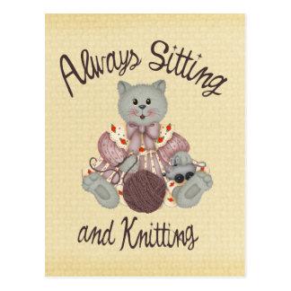 Knitting Cat Postcard
