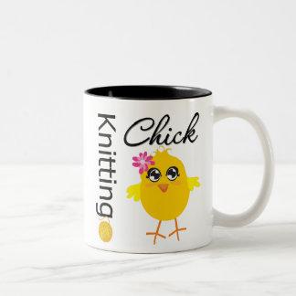 Knitting Chick Two-Tone Coffee Mug