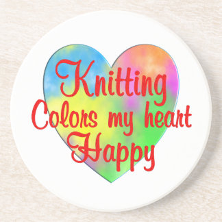 Knitting Colors My Heart Happy Drink Coasters