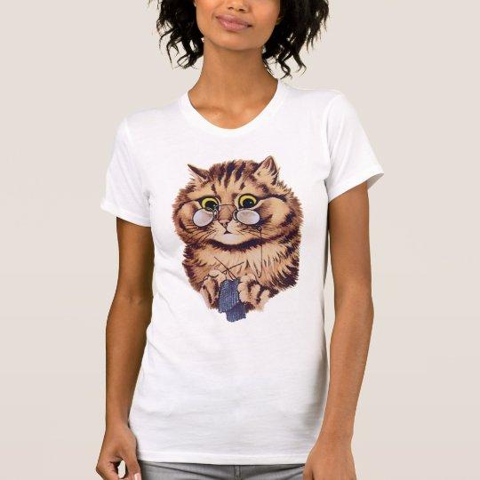Knitting Crazy Cat T Shirt