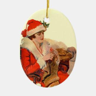 Knitting for Christmas Ceramic Ornament