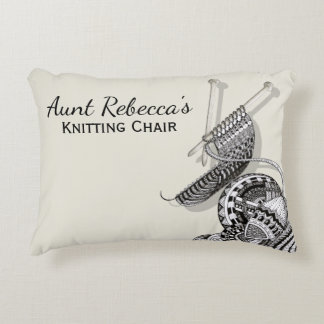 Knitting Fun Doodle Art Decorative Pillow